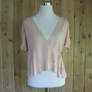 NWOT American Rag Wrap Shirt Pink Blouse MEDIUM